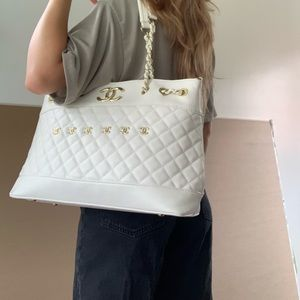 Chanel White Quilt Tote